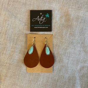 Leather faux turquoise Earrings